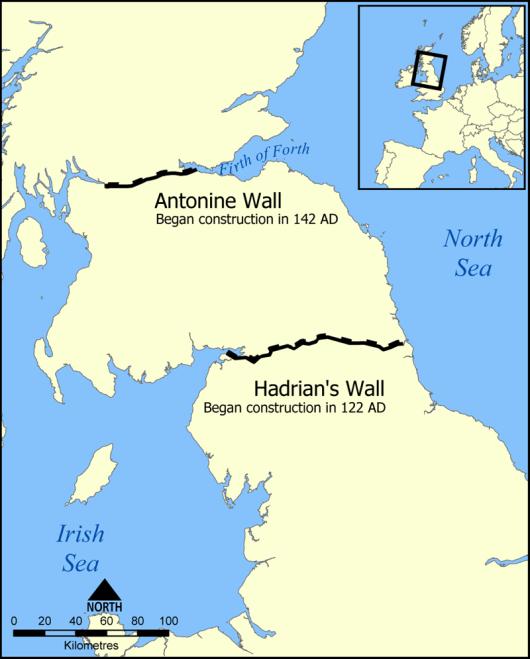 מפת חומת הדריאנוס - ויקיפדיה