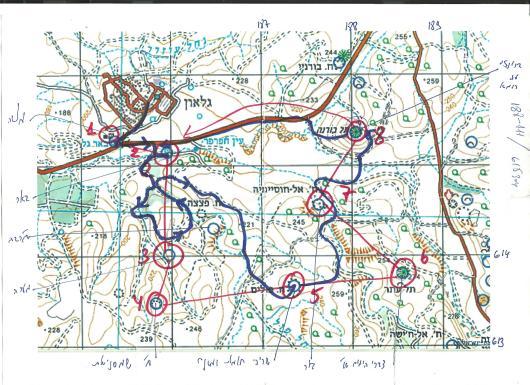 מפת המסע: באדום - התכנון. בכחול - הביצוע.