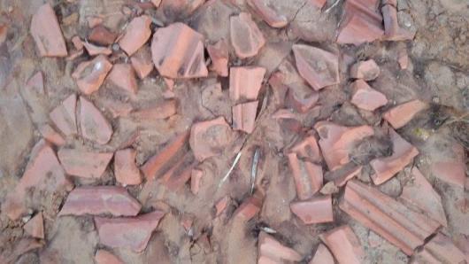 וזה כבר לא רגבי אדמה. אלה שברי רעפים. מישהו מצא לנכון לזהם...